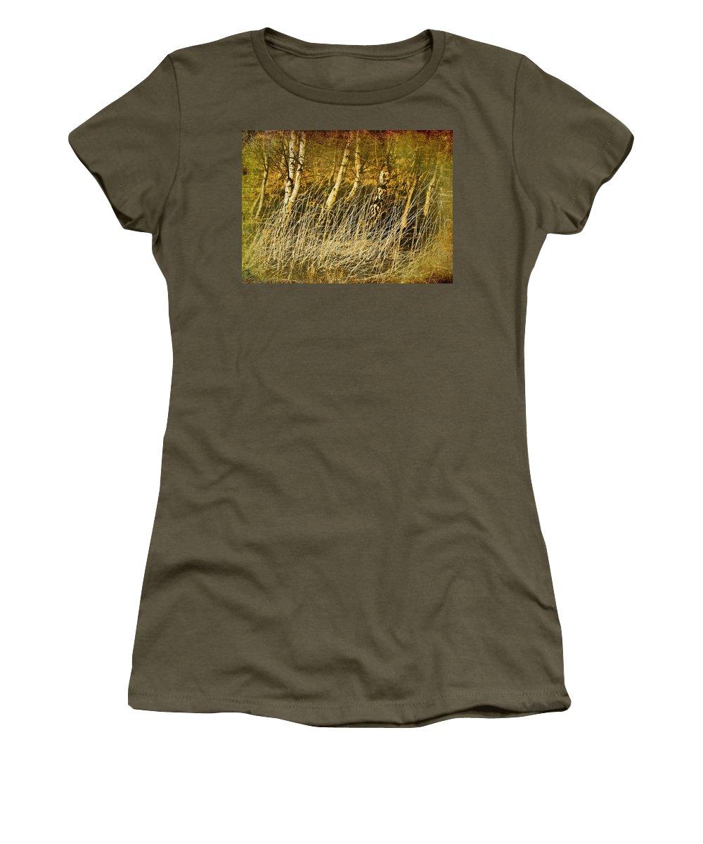 Birch Women's T-Shirt featuring the photograph Grass And Birch by Meirion Matthias