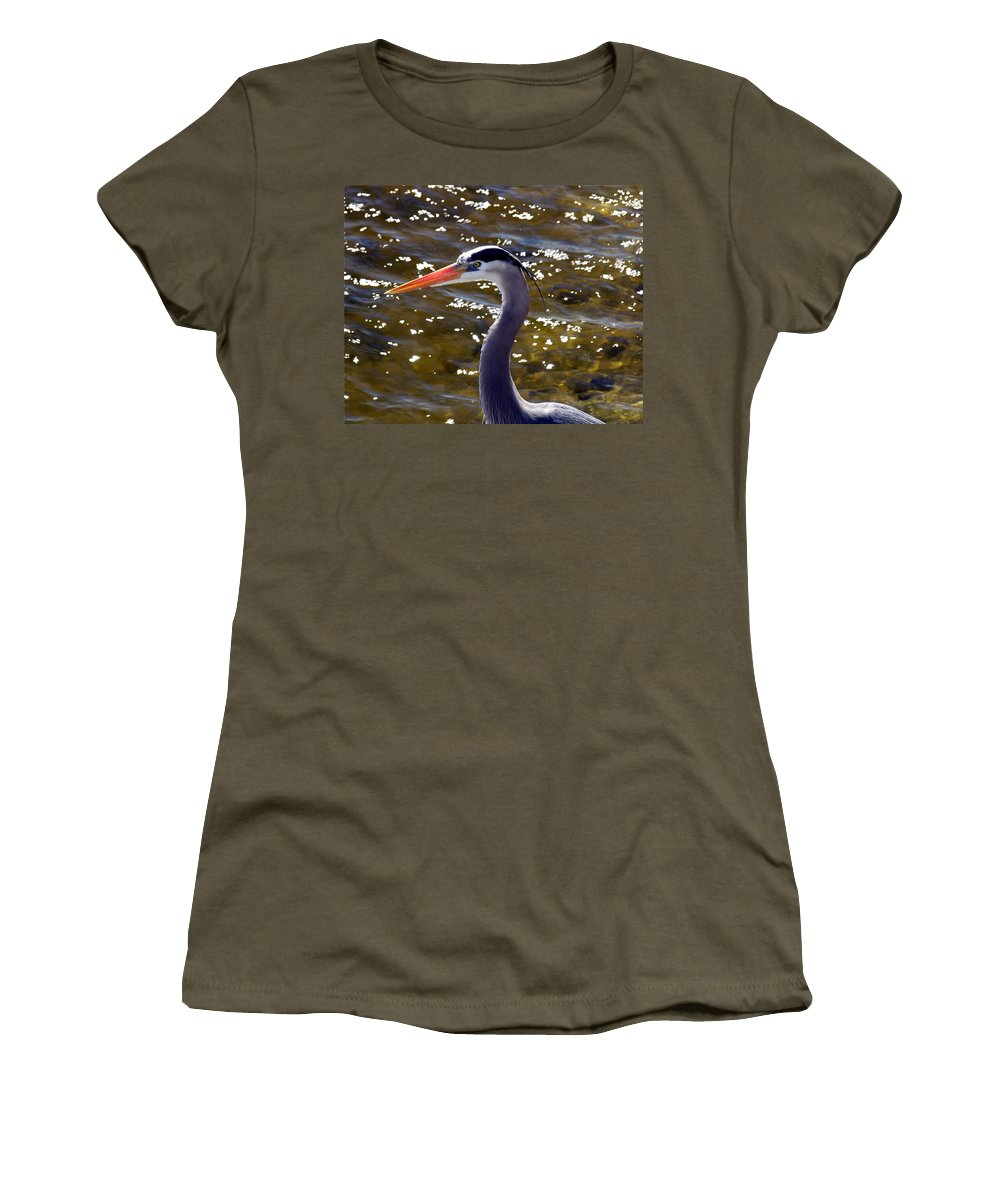 Ardea; Herodias; Great; Blue; Heron; Bird; Water; Fowl; Waterfowl; Merritt; Island; Wildlife; Refuge Women's T-Shirt (Athletic Fit) featuring the photograph Great Blue Heron by Allan Hughes