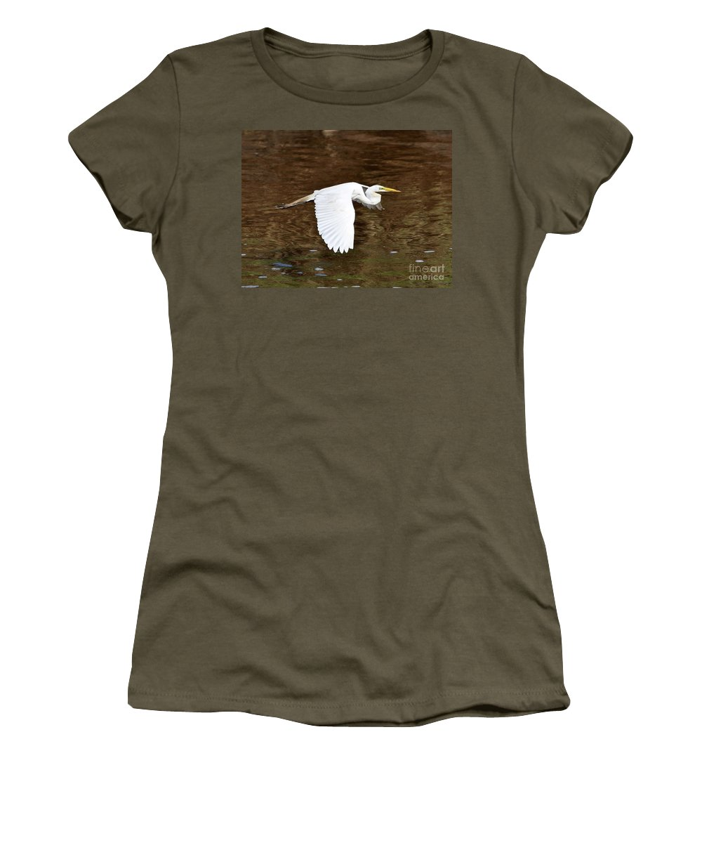 Great Egret Women's T-Shirt featuring the photograph Great Egret In Flight by Al Powell Photography USA