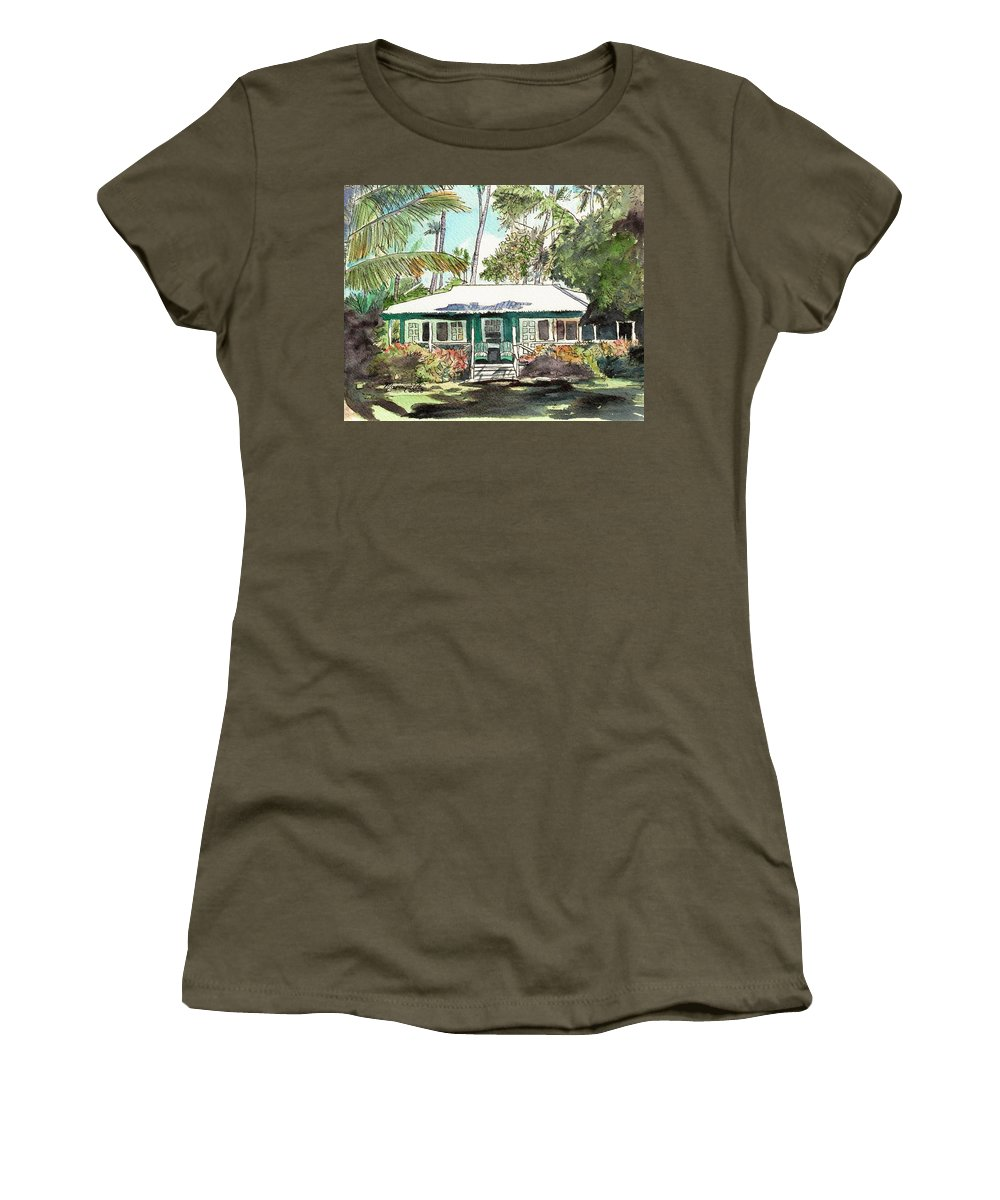Cottage Women's T-Shirt (Athletic Fit) featuring the painting Green Cottage by Marionette Taboniar