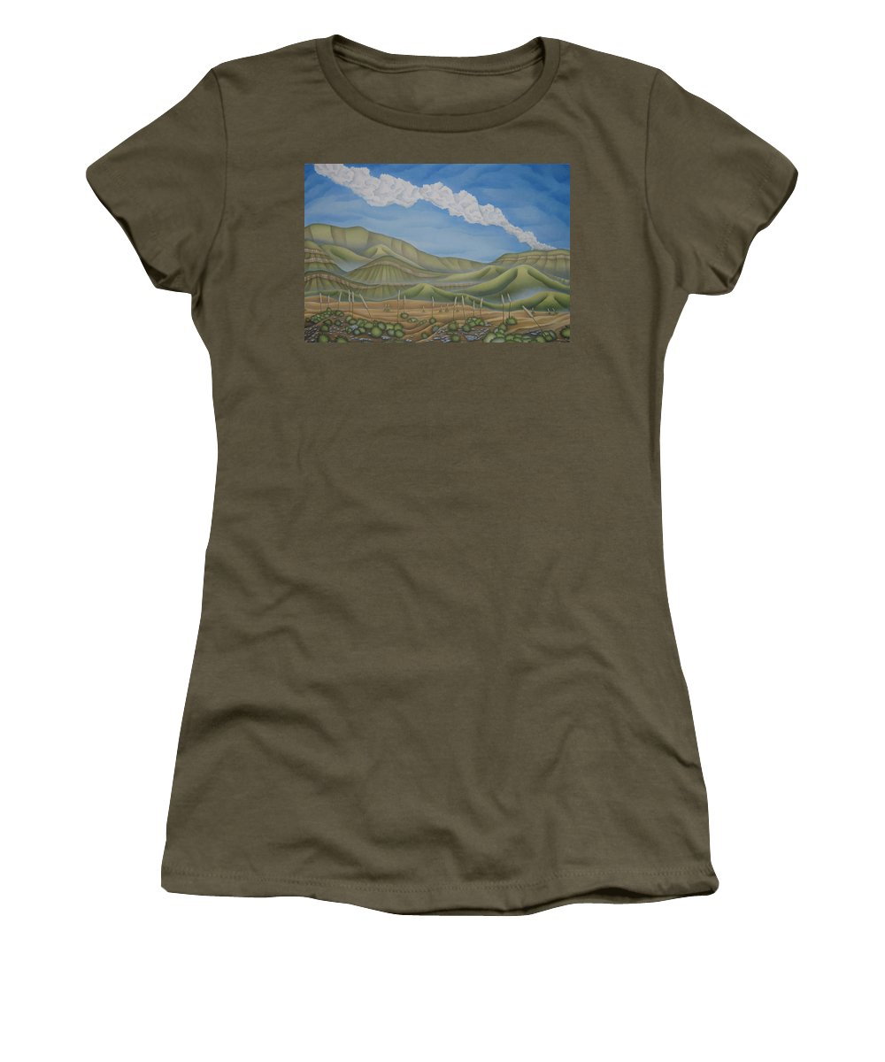 Landscape Women's T-Shirt featuring the painting Green Desert by Jeniffer Stapher-Thomas
