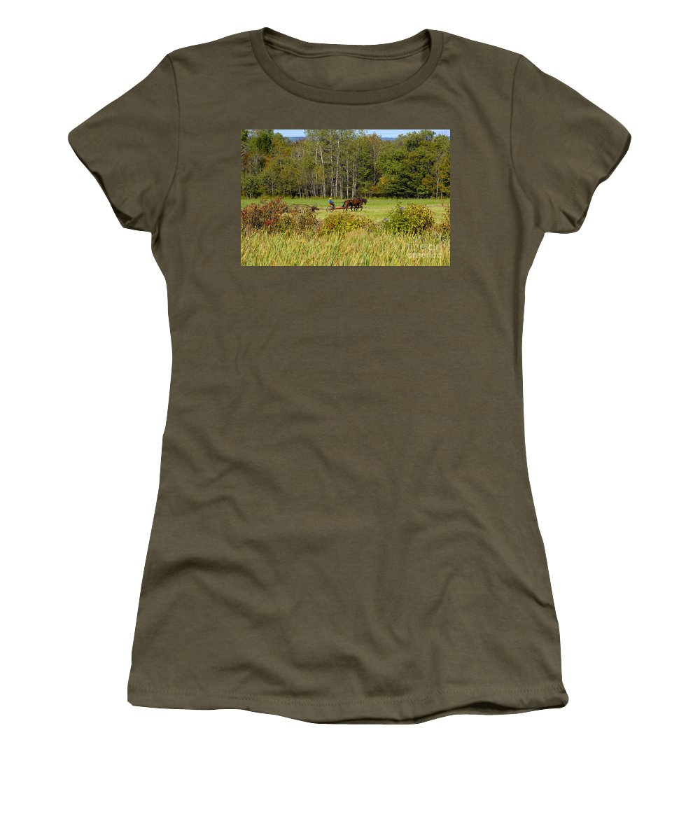 Green Farming Women's T-Shirt (Athletic Fit) featuring the photograph Green Farming by David Lee Thompson