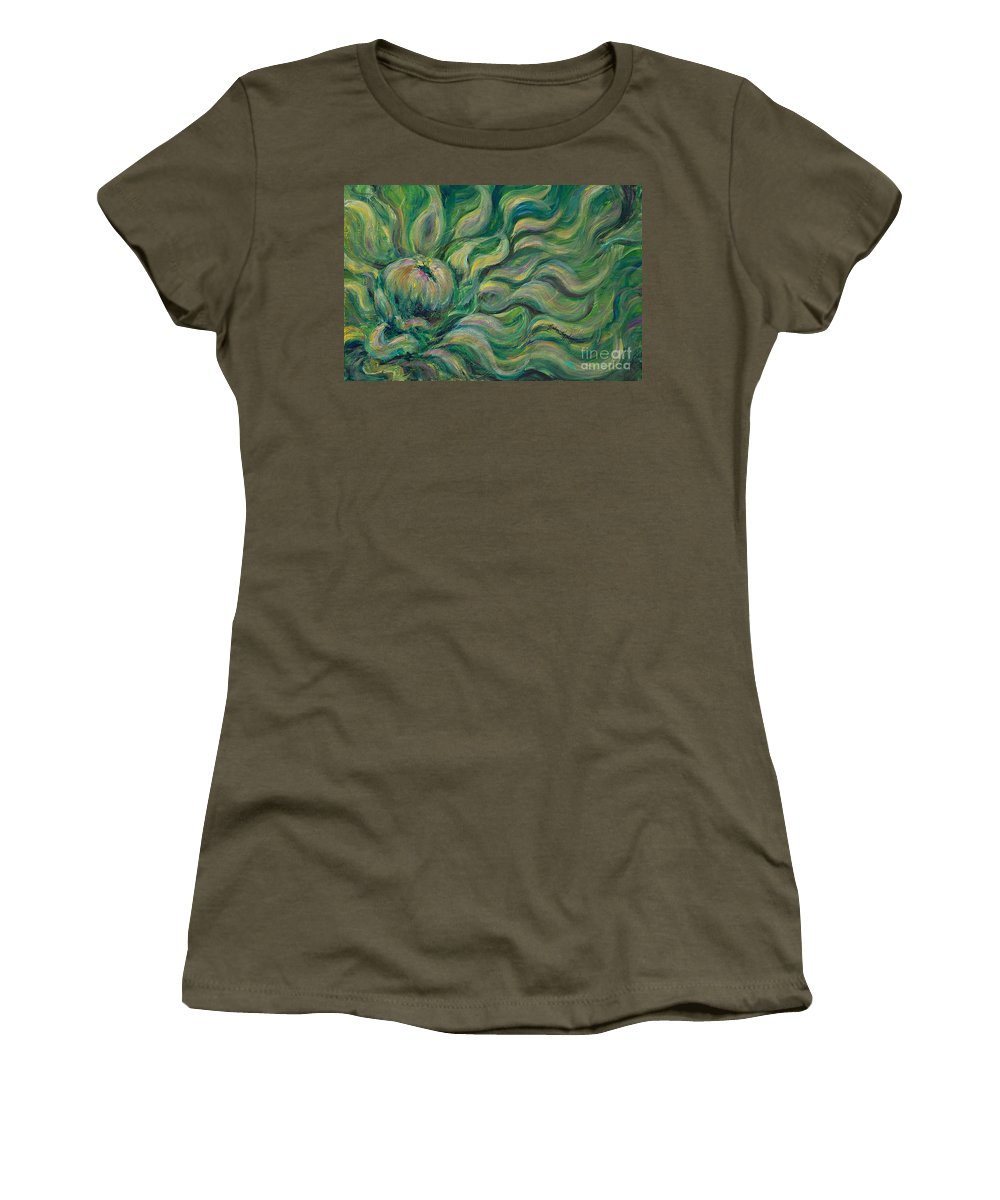 Green Women's T-Shirt (Athletic Fit) featuring the painting Green Flowing Flower by Nadine Rippelmeyer