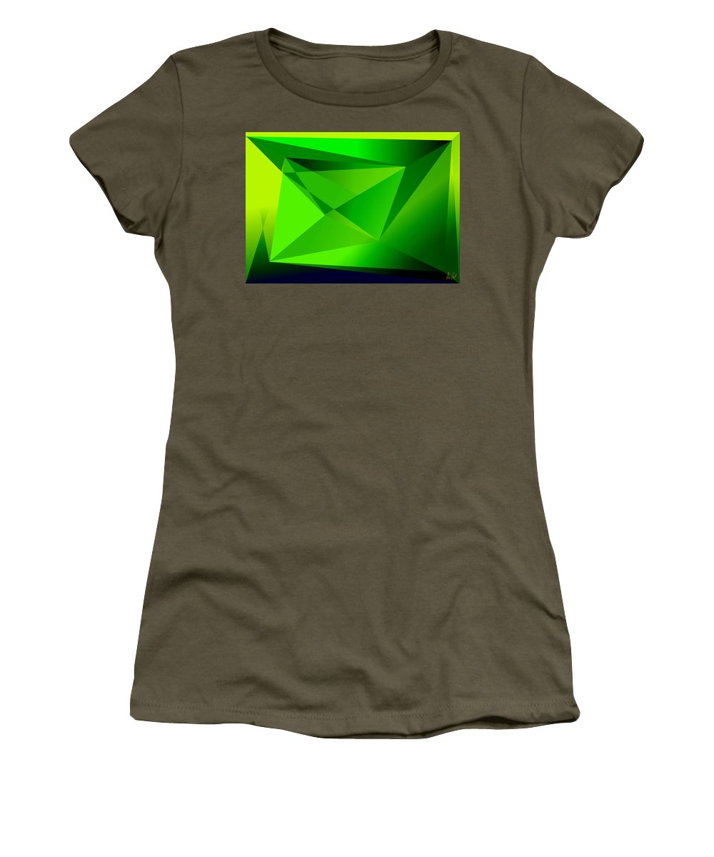 Pyramiden Women's T-Shirt featuring the digital art Green by Helmut Rottler