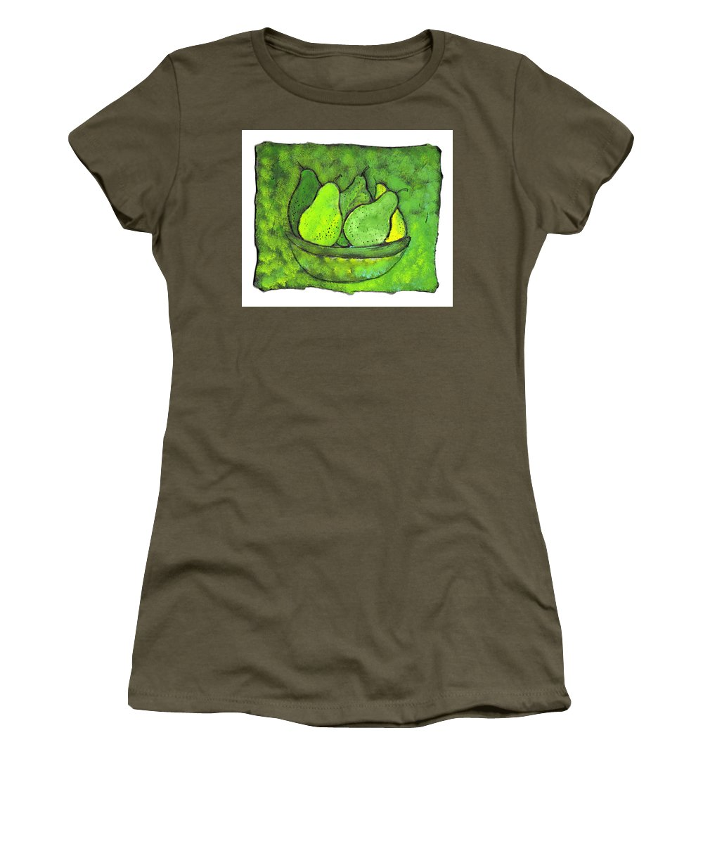 Greem. Pears Women's T-Shirt (Athletic Fit) featuring the painting Green Pears by Wayne Potrafka