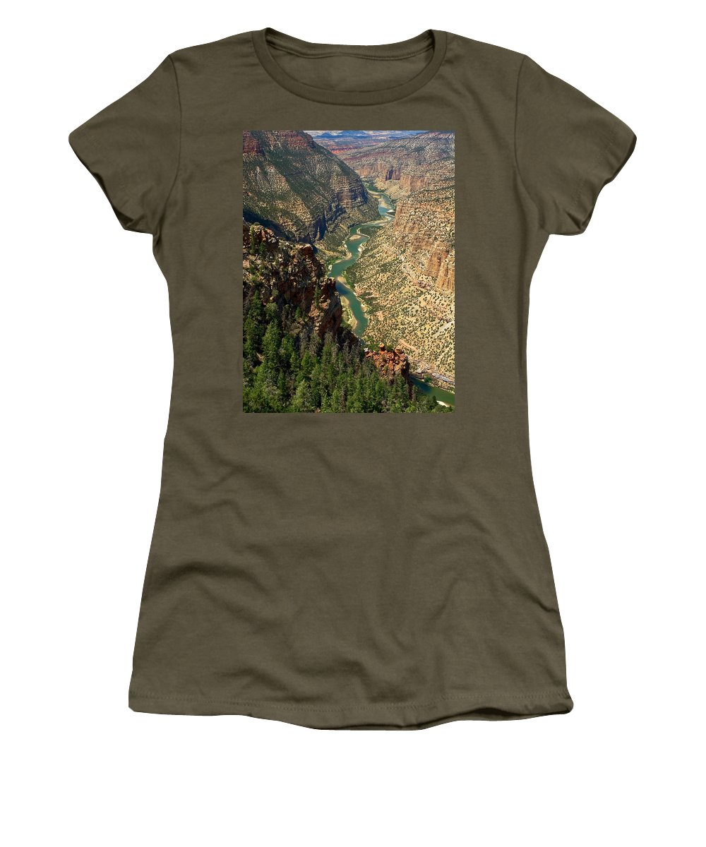 Green River Flowing Through Canyon Women's T-Shirt featuring the photograph Green River Carving Canyon by Sally Weigand