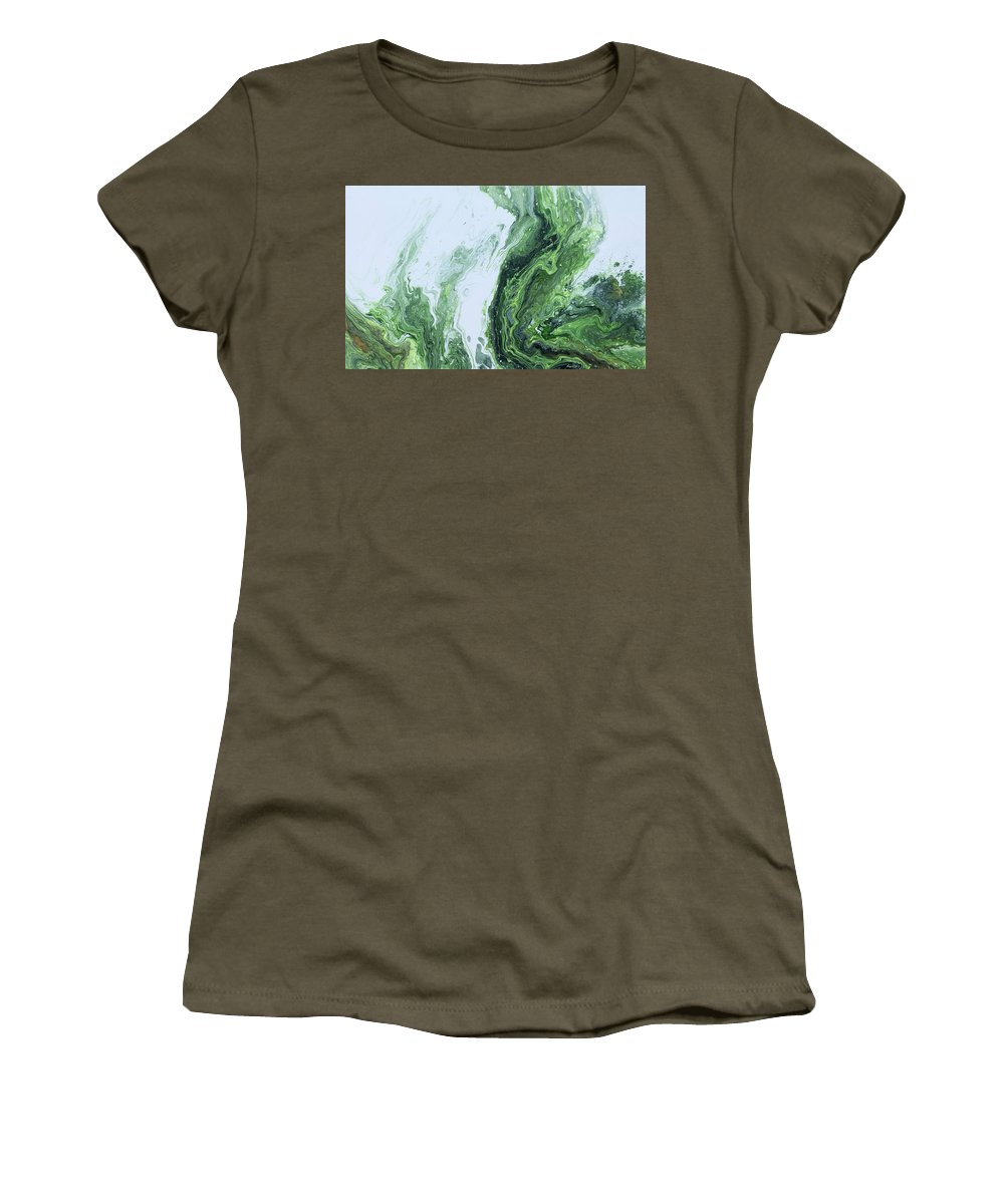 Green Wave Women's T-Shirt featuring the painting Green Splash by Geri Bridston