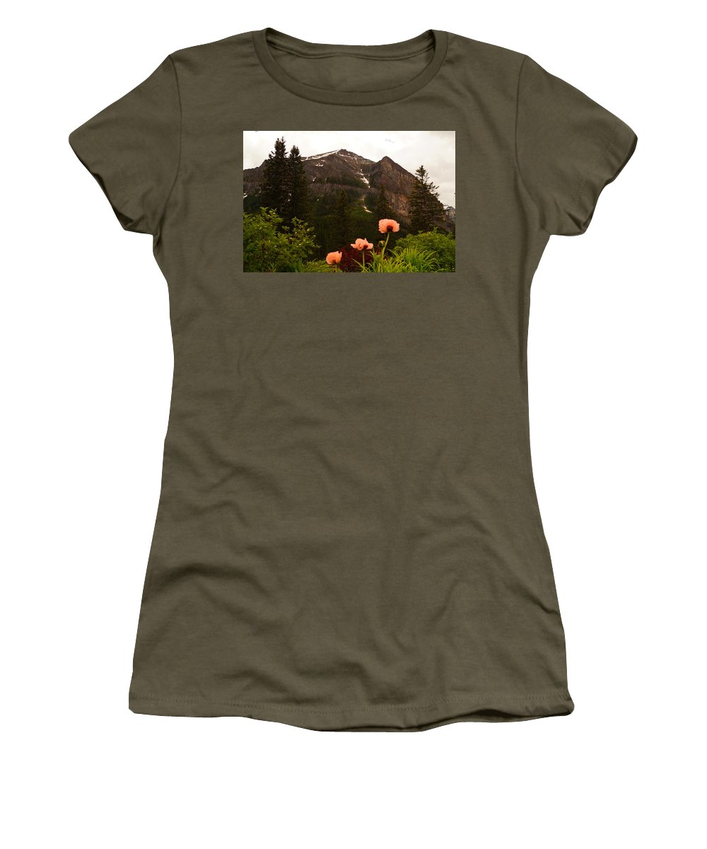Banff National Park Women's T-Shirt featuring the photograph Grounds At Lake Louise by Beth Collins