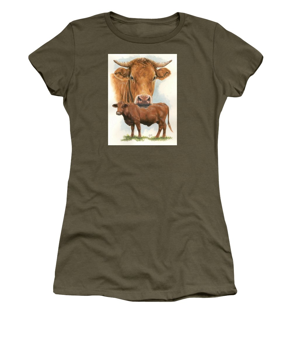 Cow Women's T-Shirt (Athletic Fit) featuring the mixed media Guernsey by Barbara Keith