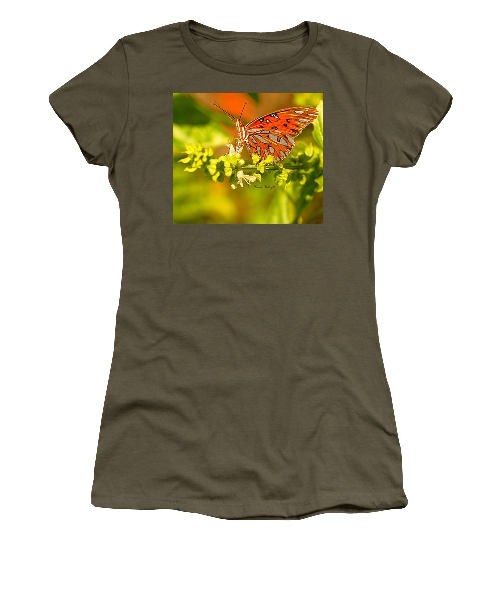 Butterfly Women's T-Shirt (Athletic Fit) featuring the photograph Gulf Fritillary Butterfly by Karen Baltzell