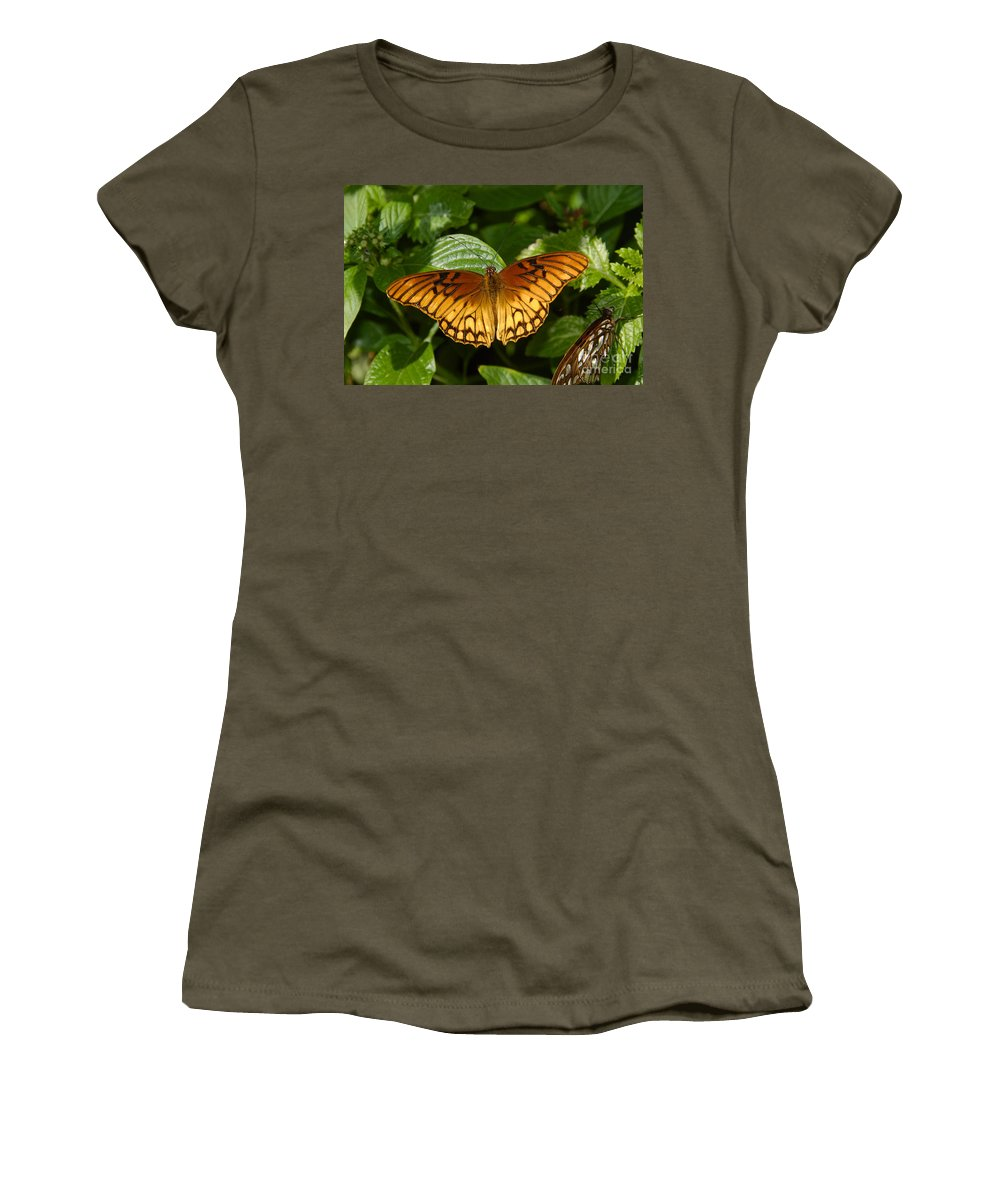 Gulf Fritillary Women's T-Shirt (Athletic Fit) featuring the photograph Gulf Fritillary by David Lee Thompson