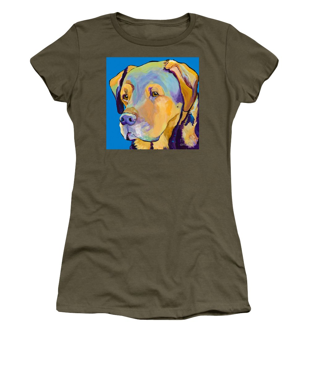 Dog Portrait Women's T-Shirt featuring the painting Gunner by Pat Saunders-White