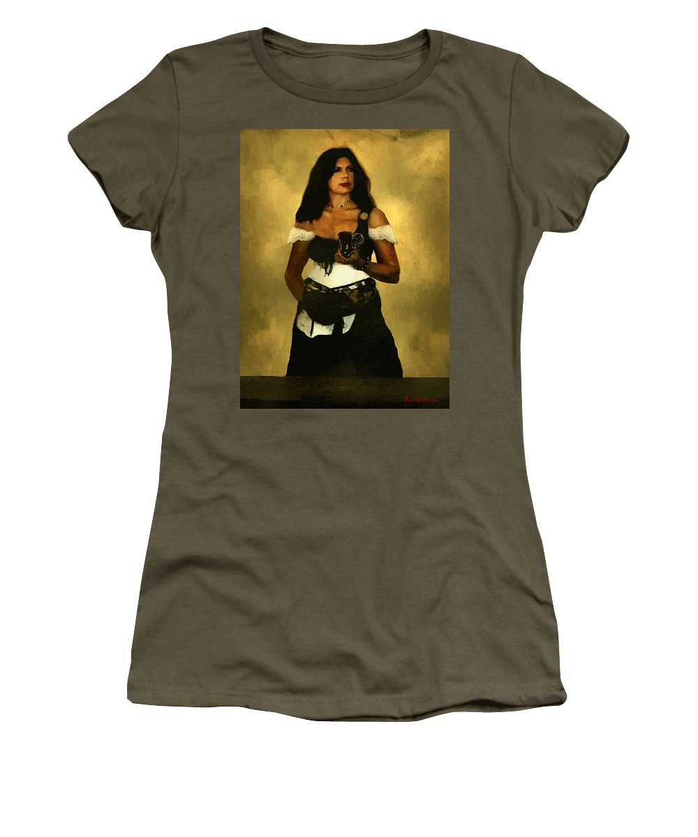 Barmaid Women's T-Shirt (Athletic Fit) featuring the painting Gypsy Polly by RC DeWinter