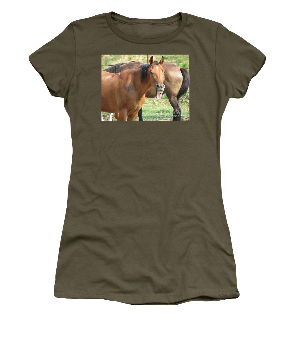 Horse Women's T-Shirt (Athletic Fit) featuring the photograph Haaaaa by Amanda Barcon