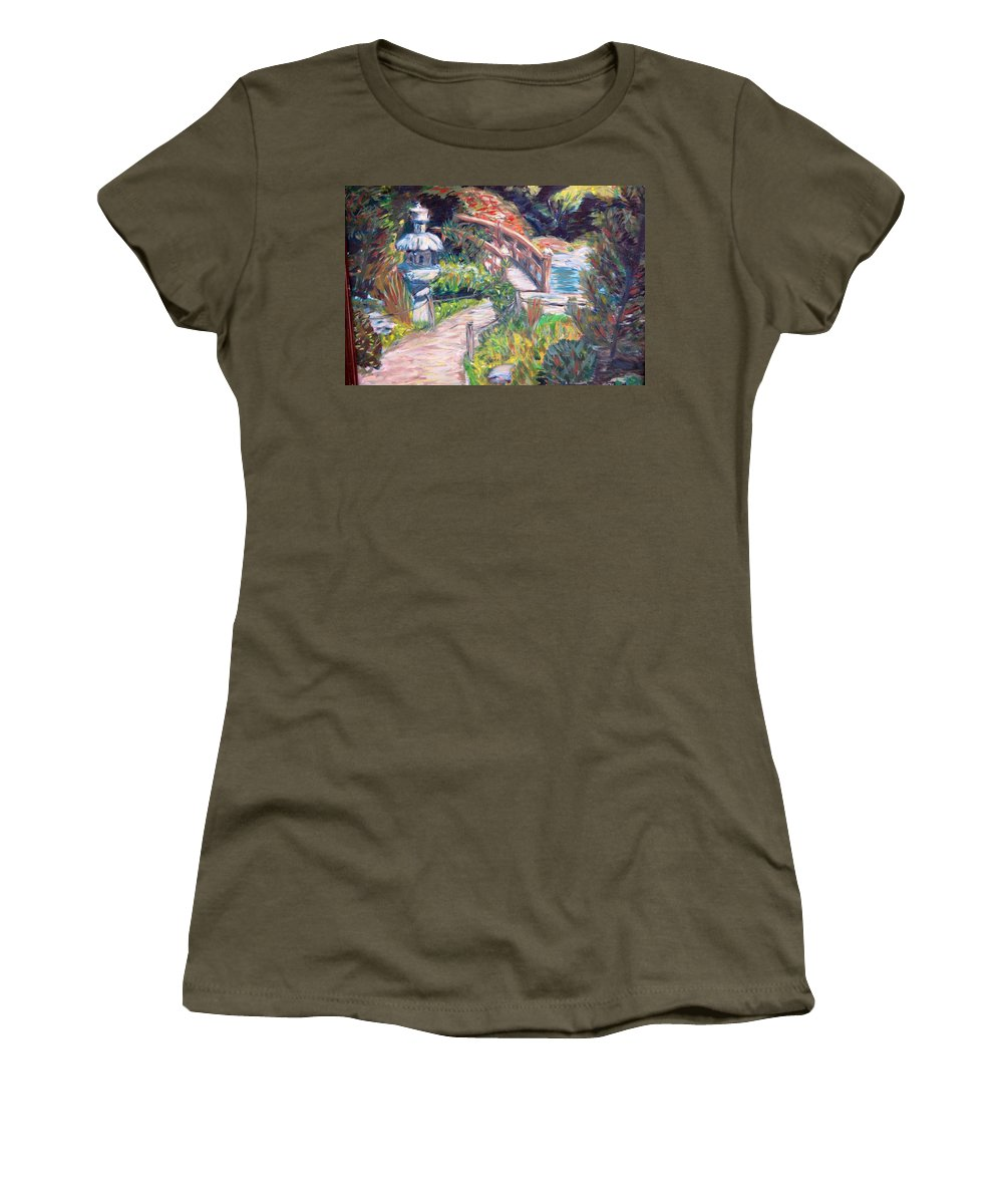 Hakone Garden Women's T-Shirt (Athletic Fit) featuring the painting Hakone by Carolyn Donnell