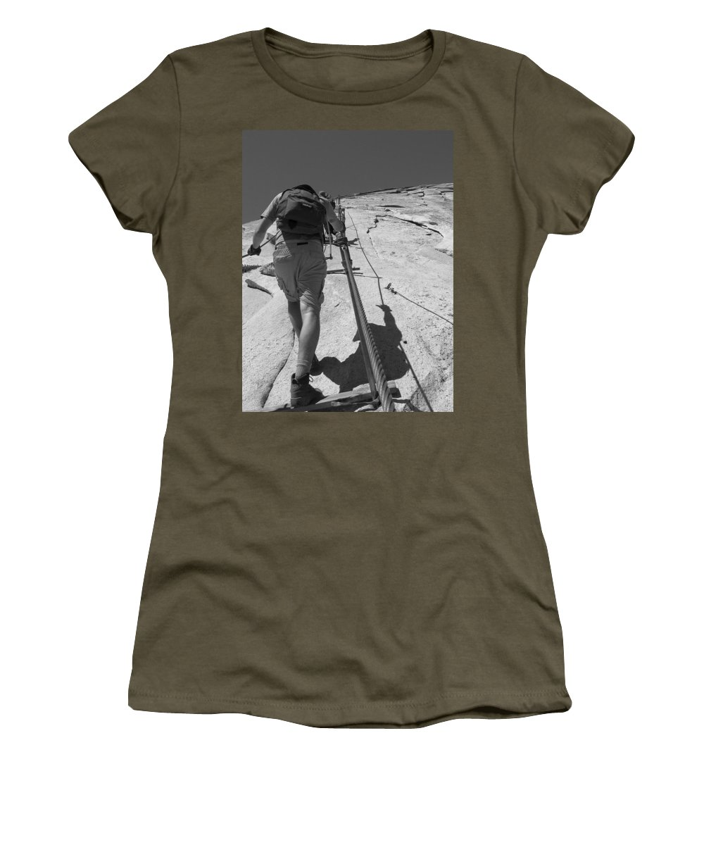 Half Dome Women's T-Shirt (Athletic Fit) featuring the photograph Half Dome Cables by Travis Day