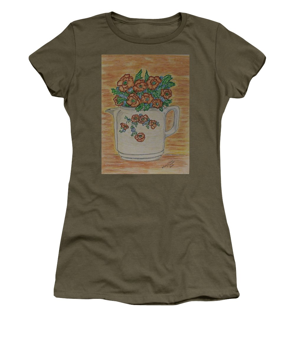 Hall China Women's T-Shirt (Athletic Fit) featuring the painting Hall China Orange Poppy And Poppies by Kathy Marrs Chandler