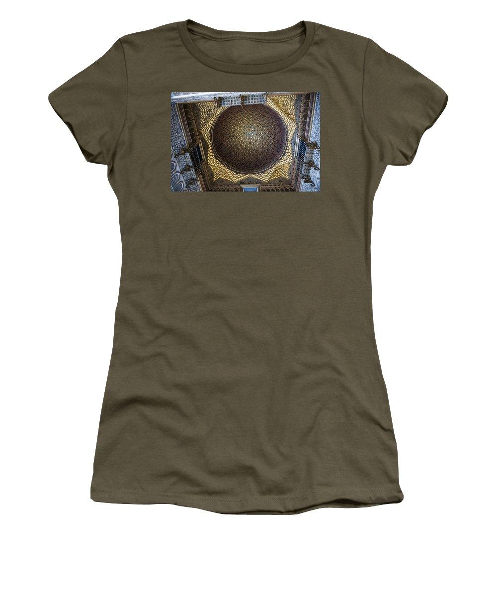 Alcazar Women's T-Shirt featuring the photograph Hall Of Ambassadors - Alcazar Of Seville - Seville Spain by Jon Berghoff