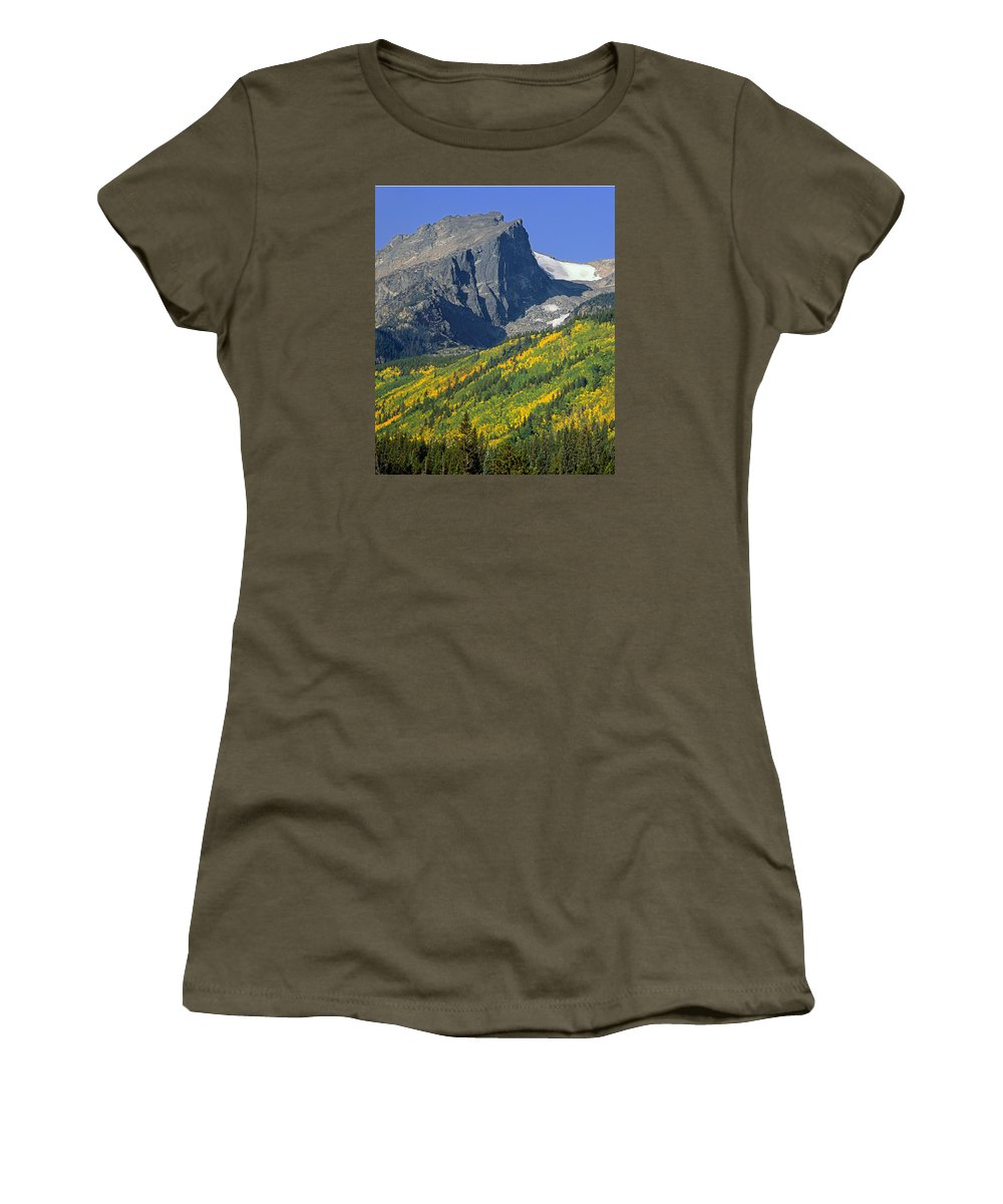 Hallet Peak Women's T-Shirt featuring the photograph 310221-v-hallet Peak In Autumn V by Ed Cooper Photography