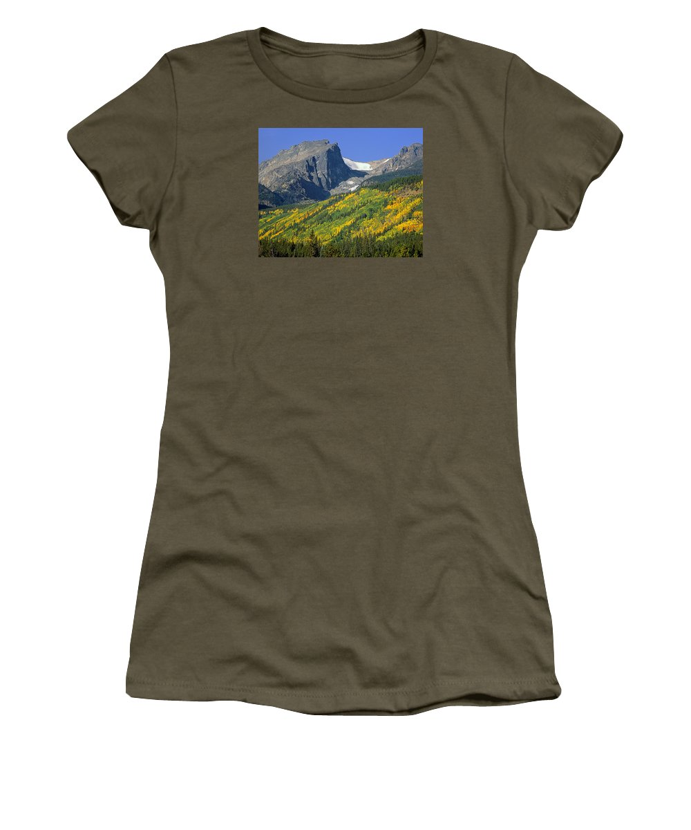 Hallet Peak Women's T-Shirt featuring the photograph 310221-hallett Peak In Autumn by Ed Cooper Photography