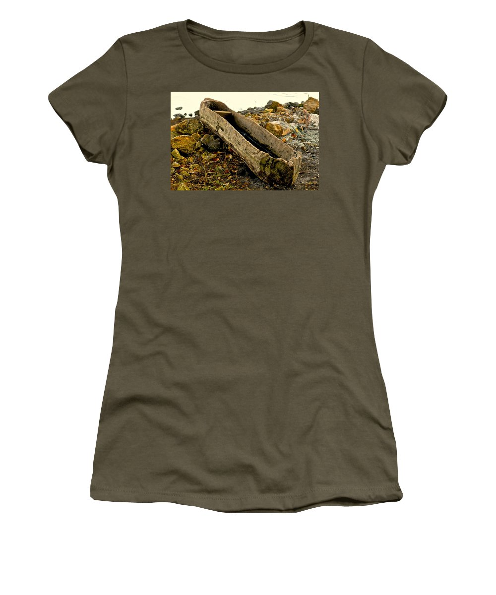 Canoe Women's T-Shirt featuring the photograph Hand Carved Canoe by Dale Chapel