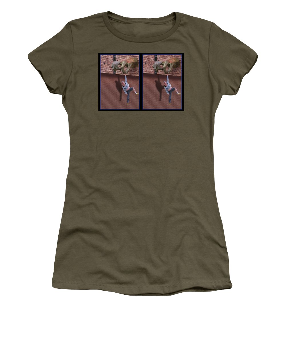 3d Women's T-Shirt featuring the photograph Handout - Gently Cross Your Eyes And Focus On The Middle Image by Brian Wallace