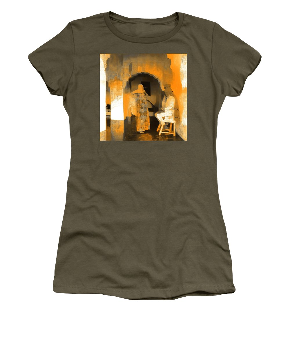 Travel Photography Women's T-Shirt featuring the photograph Hanging Out Travel Exotic Arches Orange Abstract Square India Rajasthan 1c by Sue Jacobi
