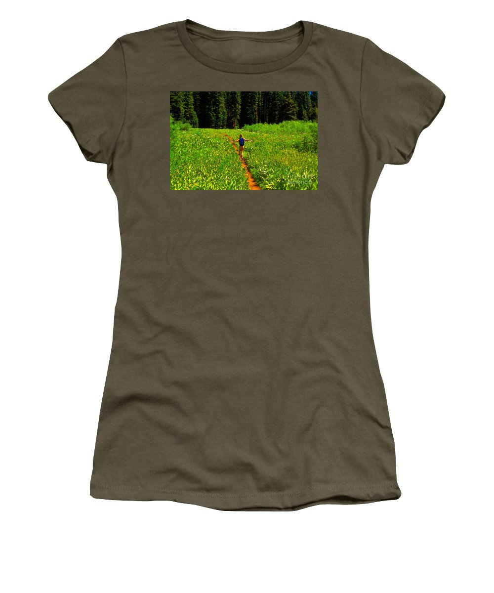 Hiking Women's T-Shirt (Athletic Fit) featuring the painting Happiness Is A Trail by David Lee Thompson
