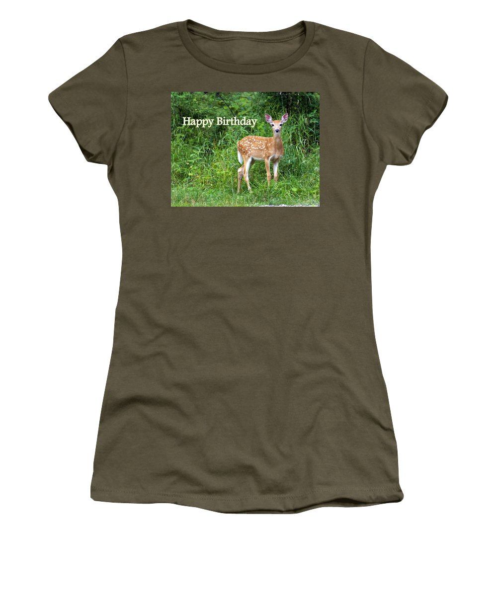 Happy Birthday Women's T-Shirt featuring the greeting card Happy Birthday 1 by Marty Koch