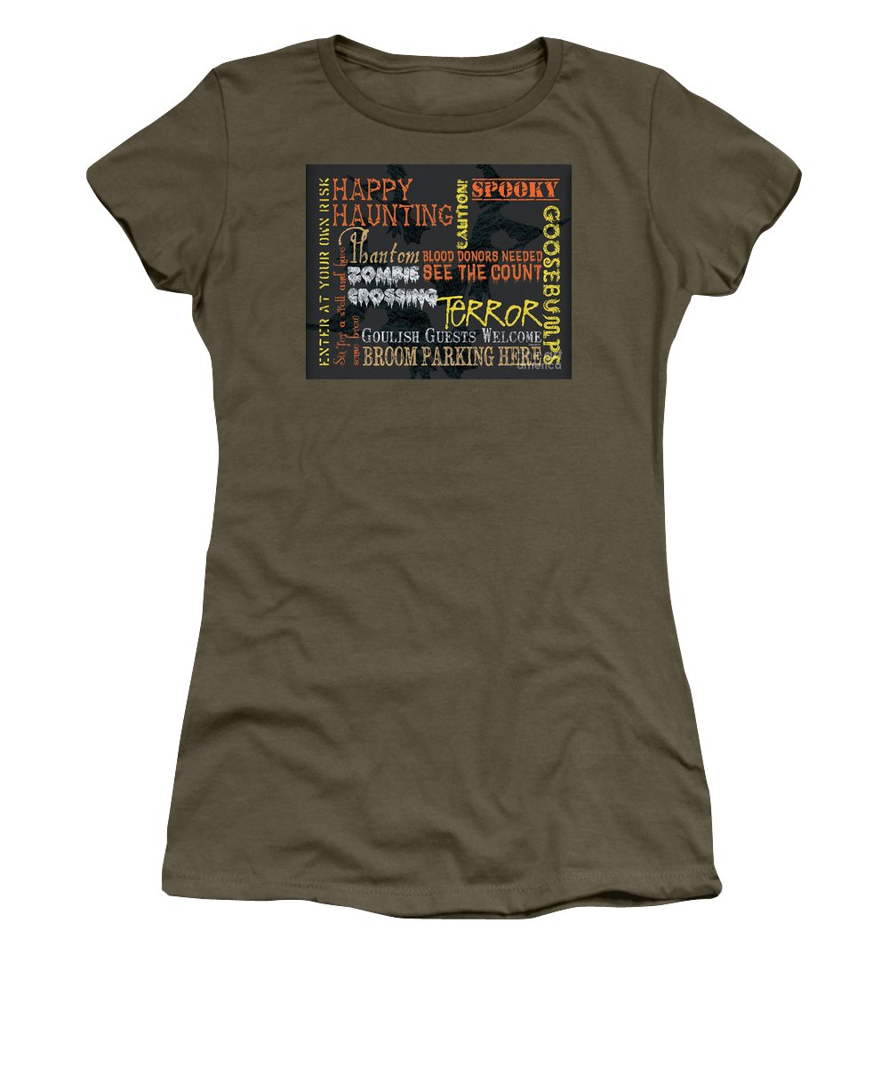 Halloween Women's T-Shirt featuring the painting Happy Haunting Typography by Debbie DeWitt