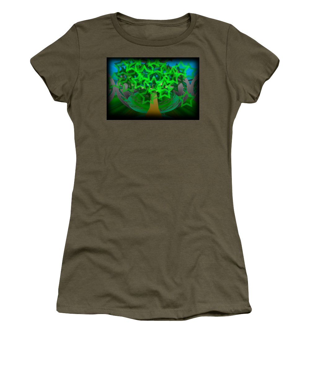 Tree Women's T-Shirt (Athletic Fit) featuring the digital art Happy Tree by XERXEESE Color Schemes