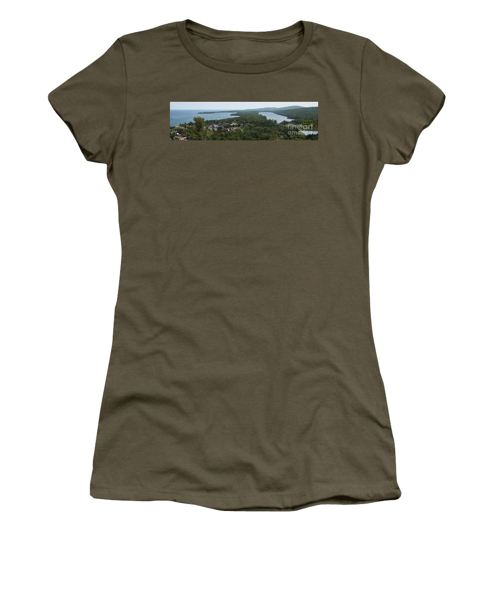 Harbor Women's T-Shirt featuring the photograph Harbor Panoramic by Wesley Farnsworth