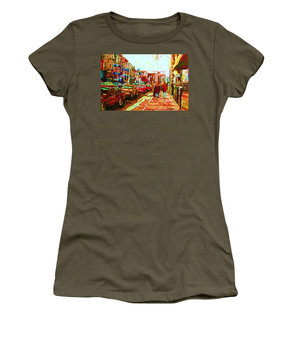 Montreal Streetscenes Women's T-Shirt (Athletic Fit) featuring the painting Hard Rock On Crescent by Carole Spandau