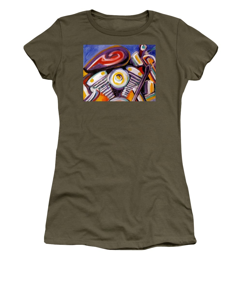 Abstract Women's T-Shirt featuring the painting Harley Closeup by Anita Burgermeister
