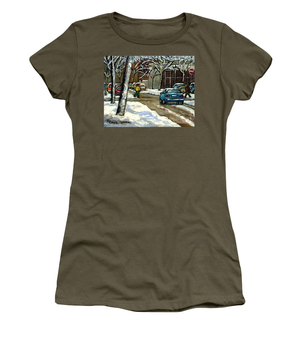 Original Montreal Paintings For Sale Women's T-Shirt featuring the painting Canadian Artist Winter Scenes Original Paintings Quebec Streets Achetez Montreal Art Online by Carole Spandau