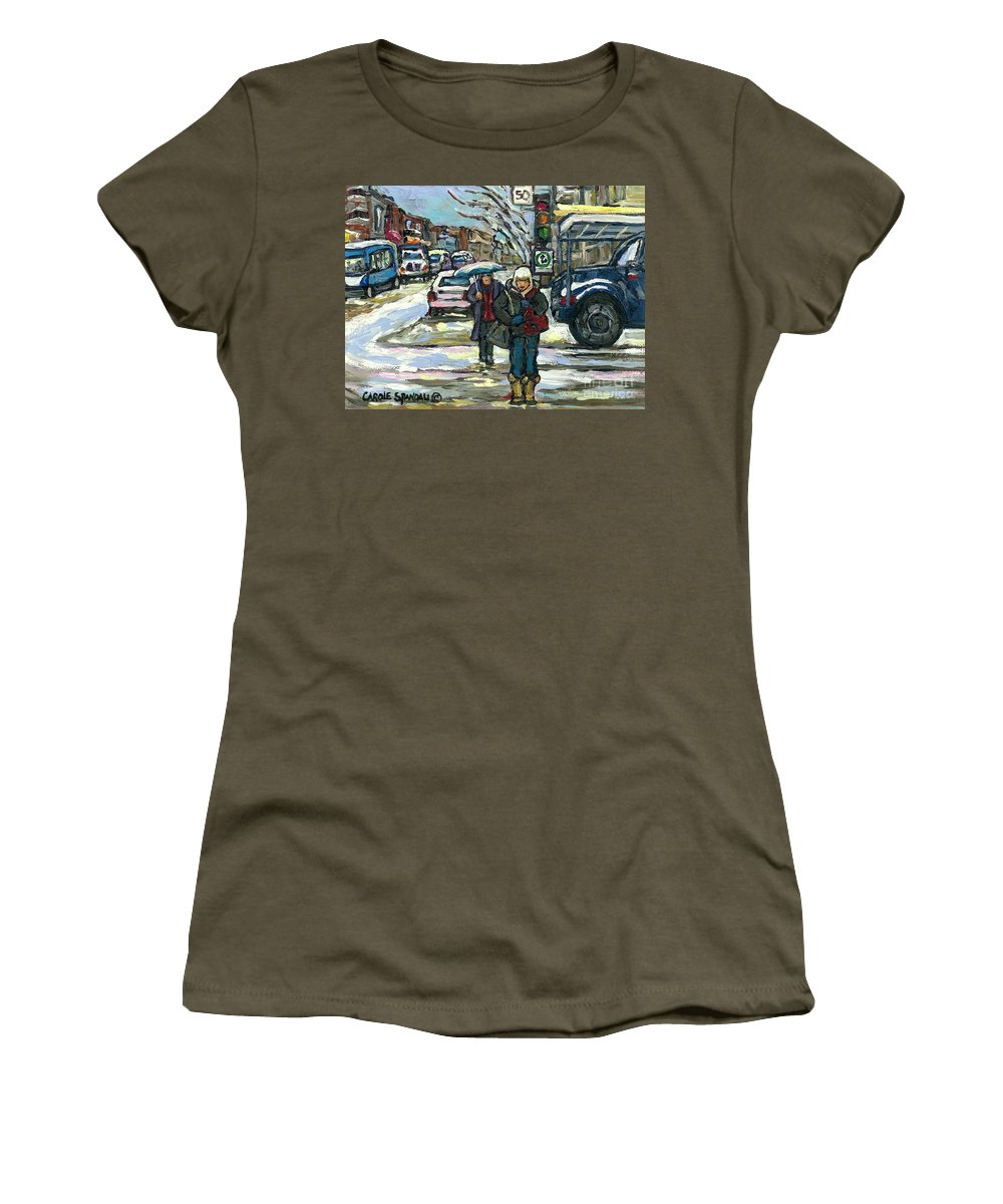Original Montreal Paintings For Sale Women's T-Shirt featuring the painting Best Canadian Winter Scene Paintings Original Montreal Art Achetez Scenes De Quebec Cspandau by Carole Spandau