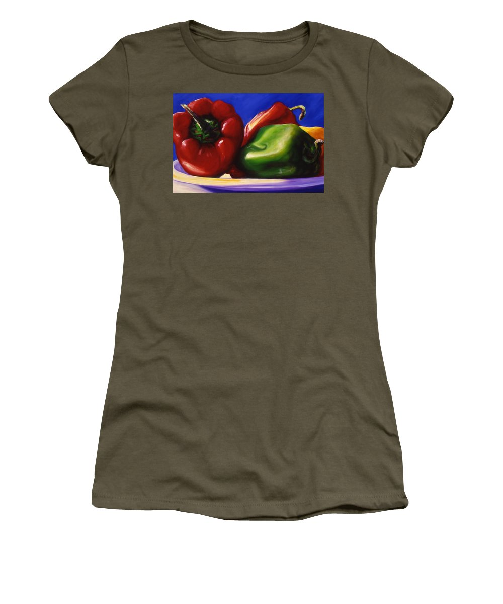 Still Life Women's T-Shirt (Athletic Fit) featuring the painting Harvest Festival Peppers by Shannon Grissom