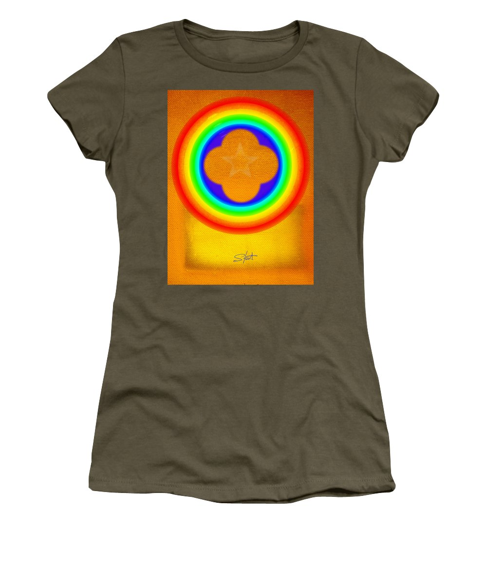 Abstract Women's T-Shirt featuring the painting Harvest Gold by Charles Stuart