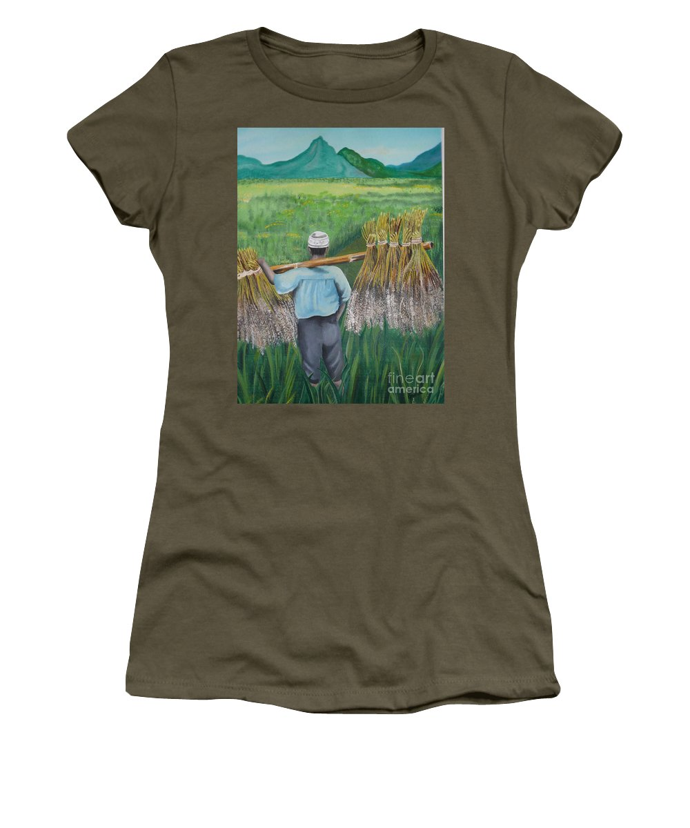 Landscape Women's T-Shirt (Athletic Fit) featuring the painting Harvest by Kris Crollard