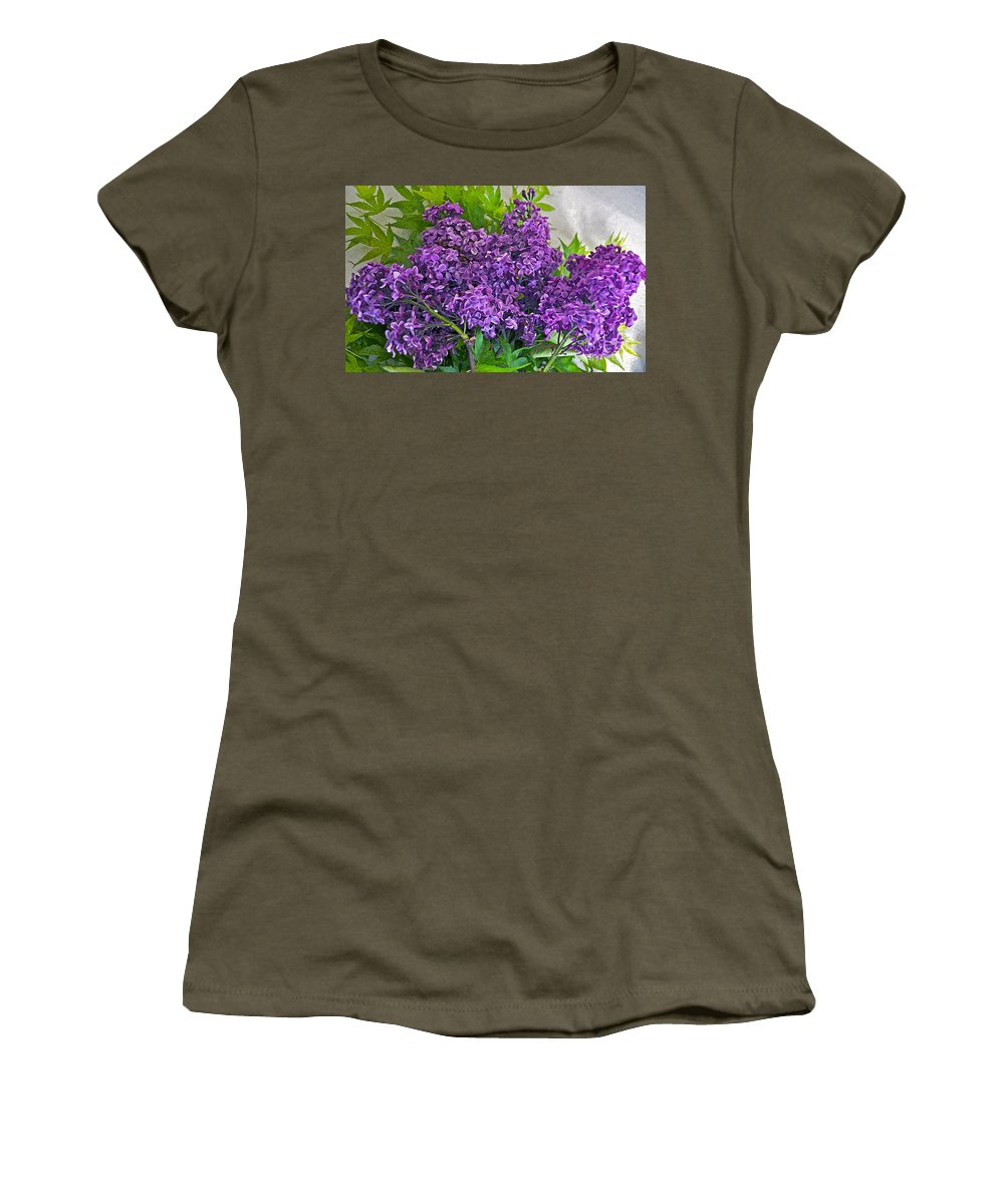 Lilac Women's T-Shirt featuring the photograph Harvesting Aroma by Gwyn Newcombe