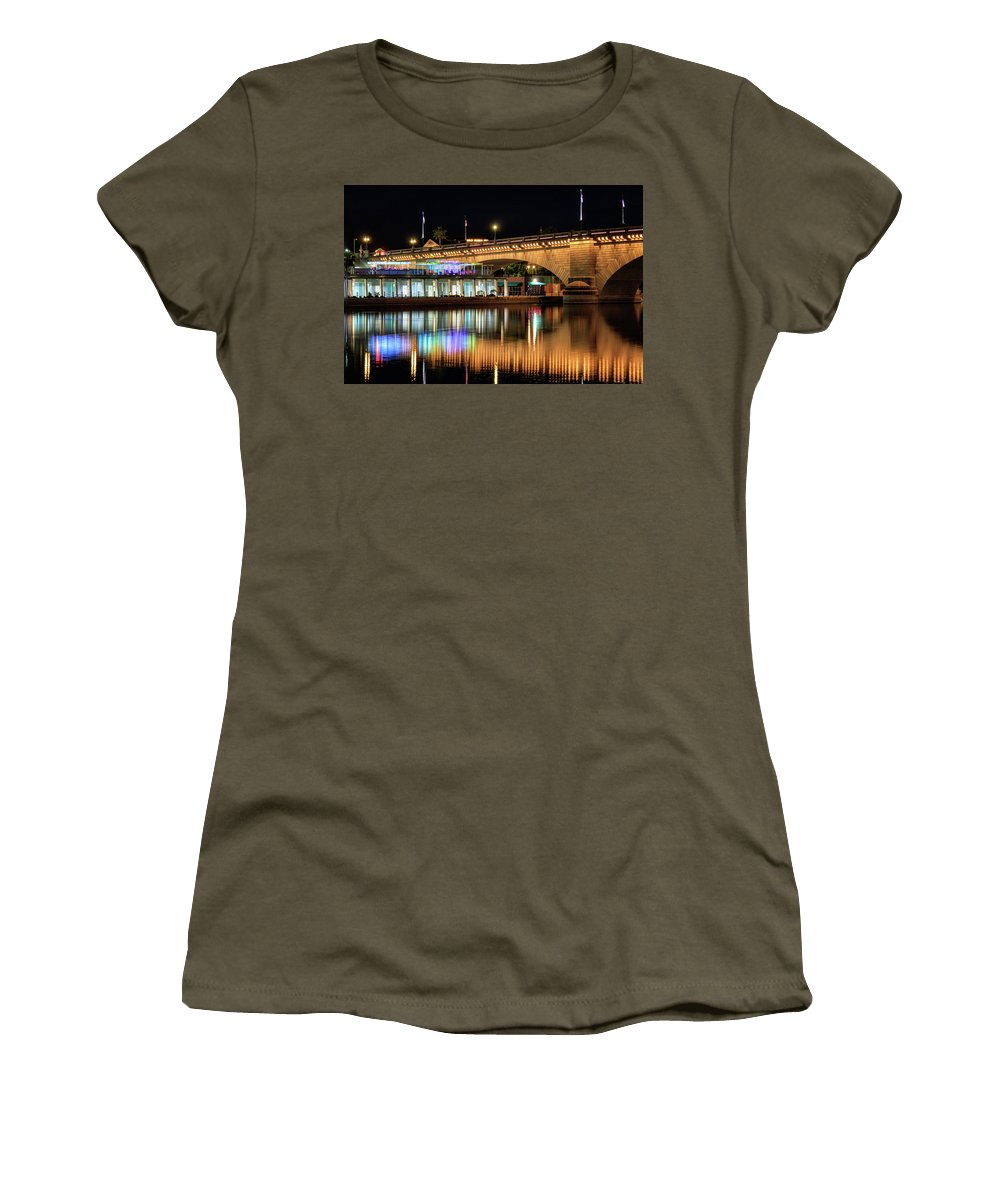 London Bridge Women's T-Shirt featuring the photograph Havasu At Night by James Eddy