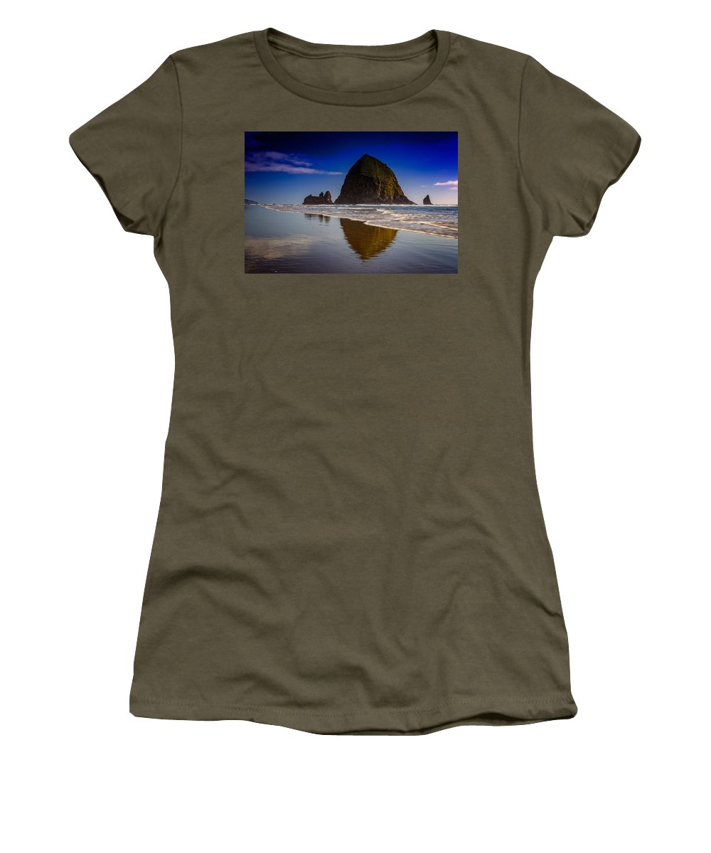Oregon Women's T-Shirt featuring the photograph Haystack Reflection by Rick Berk