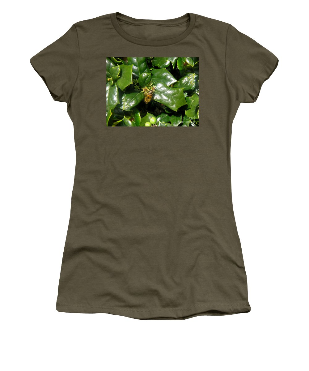 Nature Women's T-Shirt (Athletic Fit) featuring the photograph Head Over Heels In The Holly by Lucyna A M Green