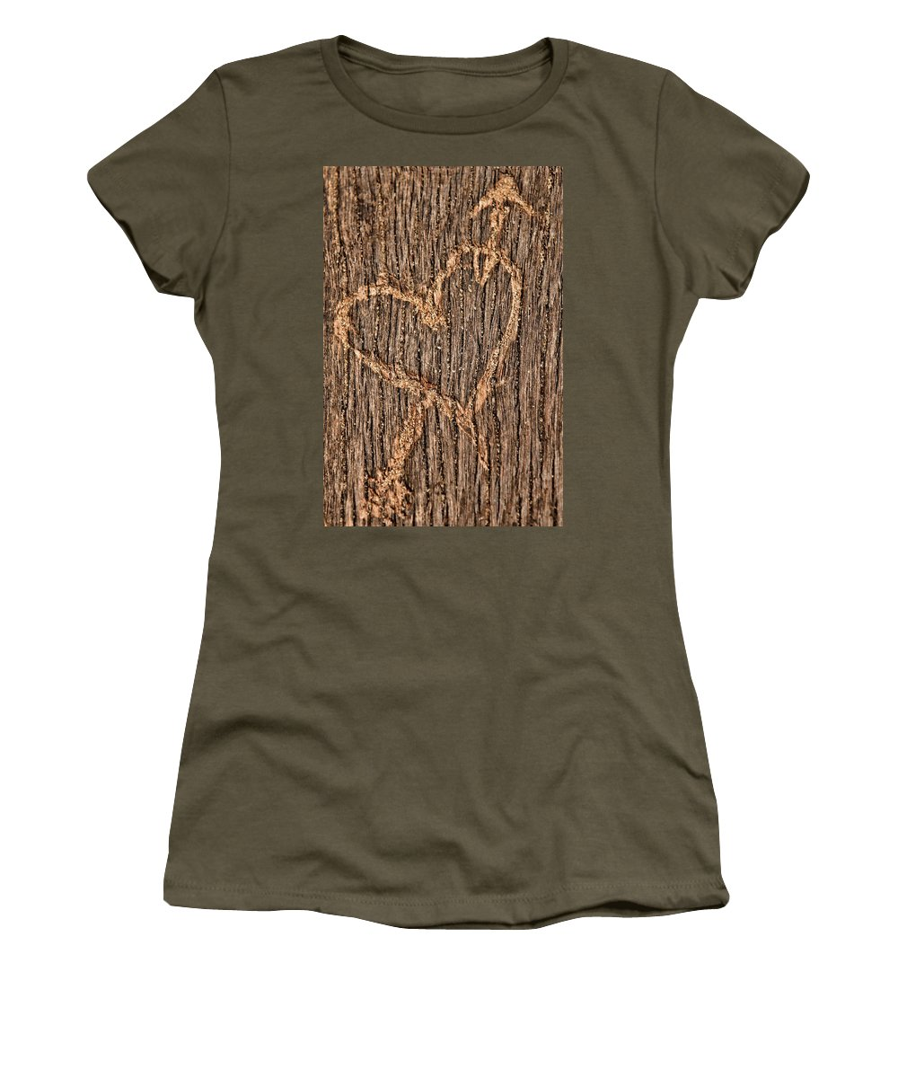 Heart Women's T-Shirt (Athletic Fit) featuring the photograph Heart On A Bench by Mihaela Pater