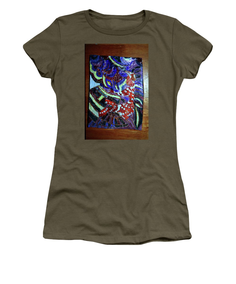 Plaquesmamamama Africa Twojesus Women's T-Shirt featuring the ceramic art Hearts Drum 7 by Gloria Ssali