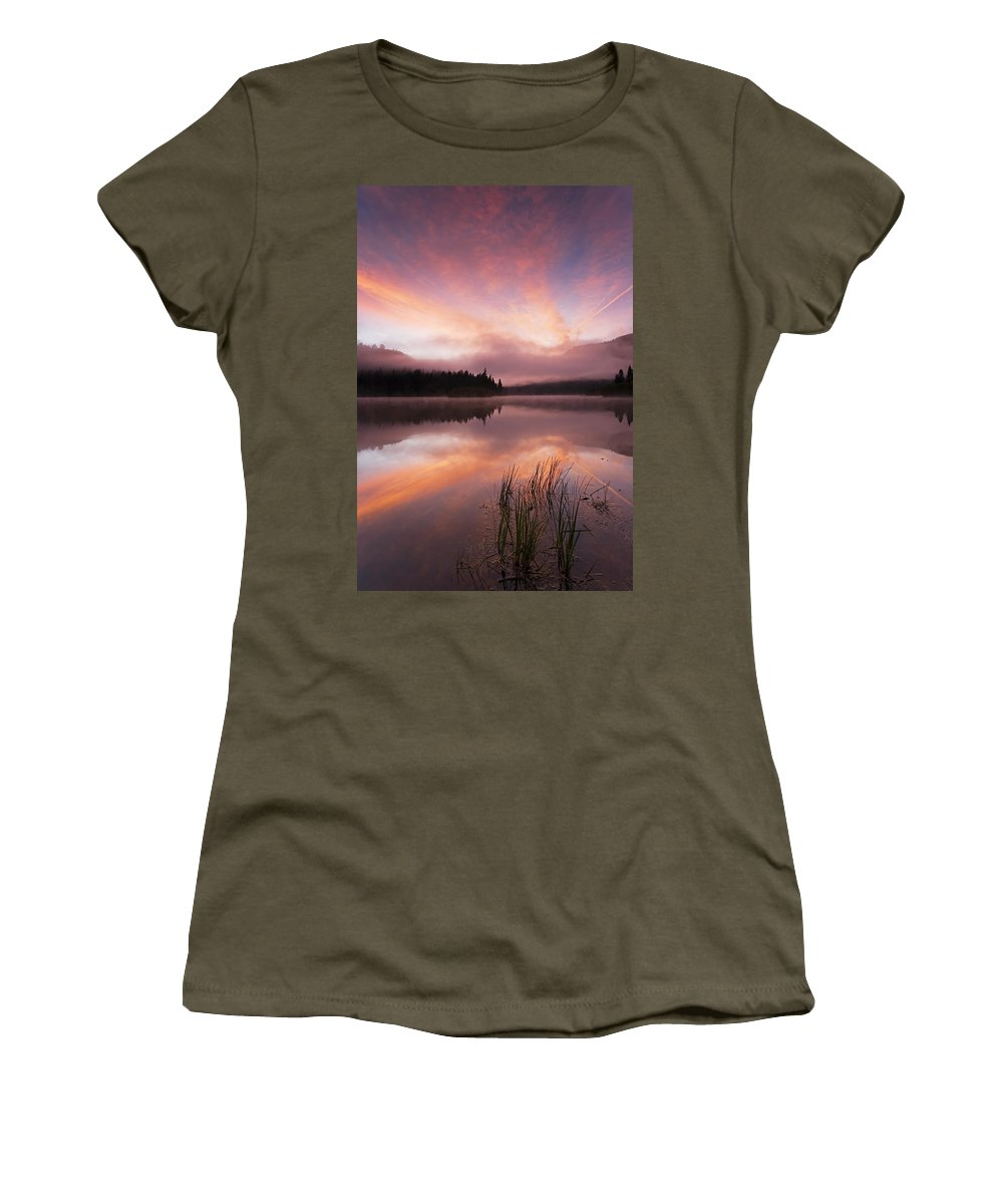 Sunrise Women's T-Shirt featuring the photograph Heavenly Skies by Mike Dawson