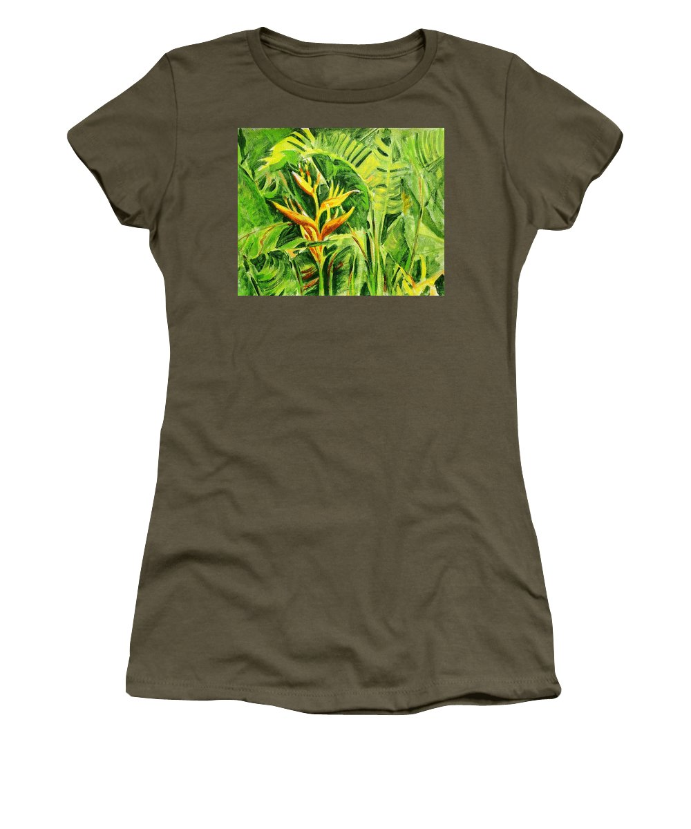 Flowers Women's T-Shirt (Athletic Fit) featuring the painting Heliconia 8 by Usha Shantharam