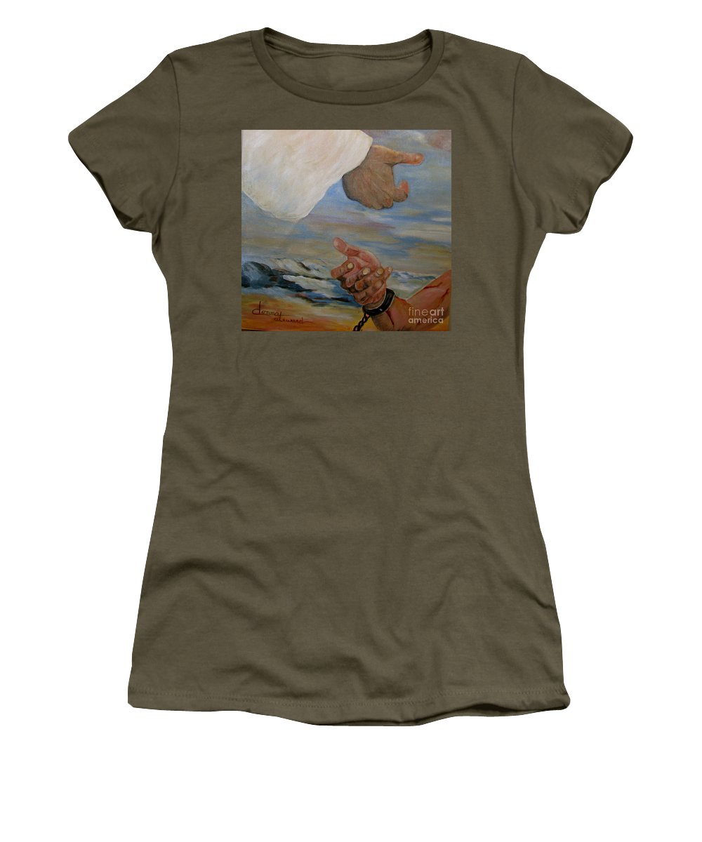 Religious Women's T-Shirt featuring the painting Help Me by Donna Steward