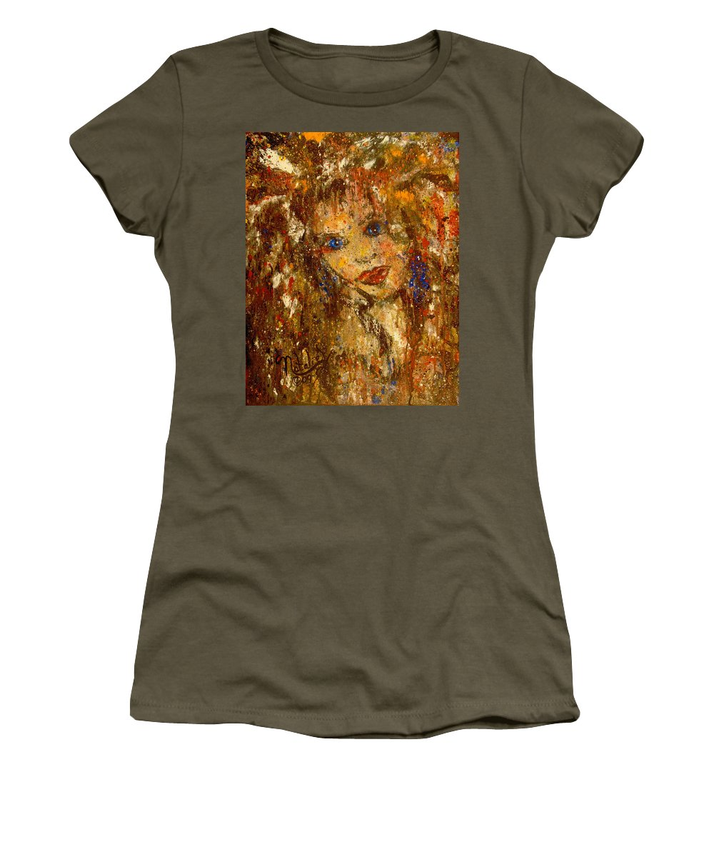 Female Women's T-Shirt (Athletic Fit) featuring the painting Her Blue Eyes by Natalie Holland