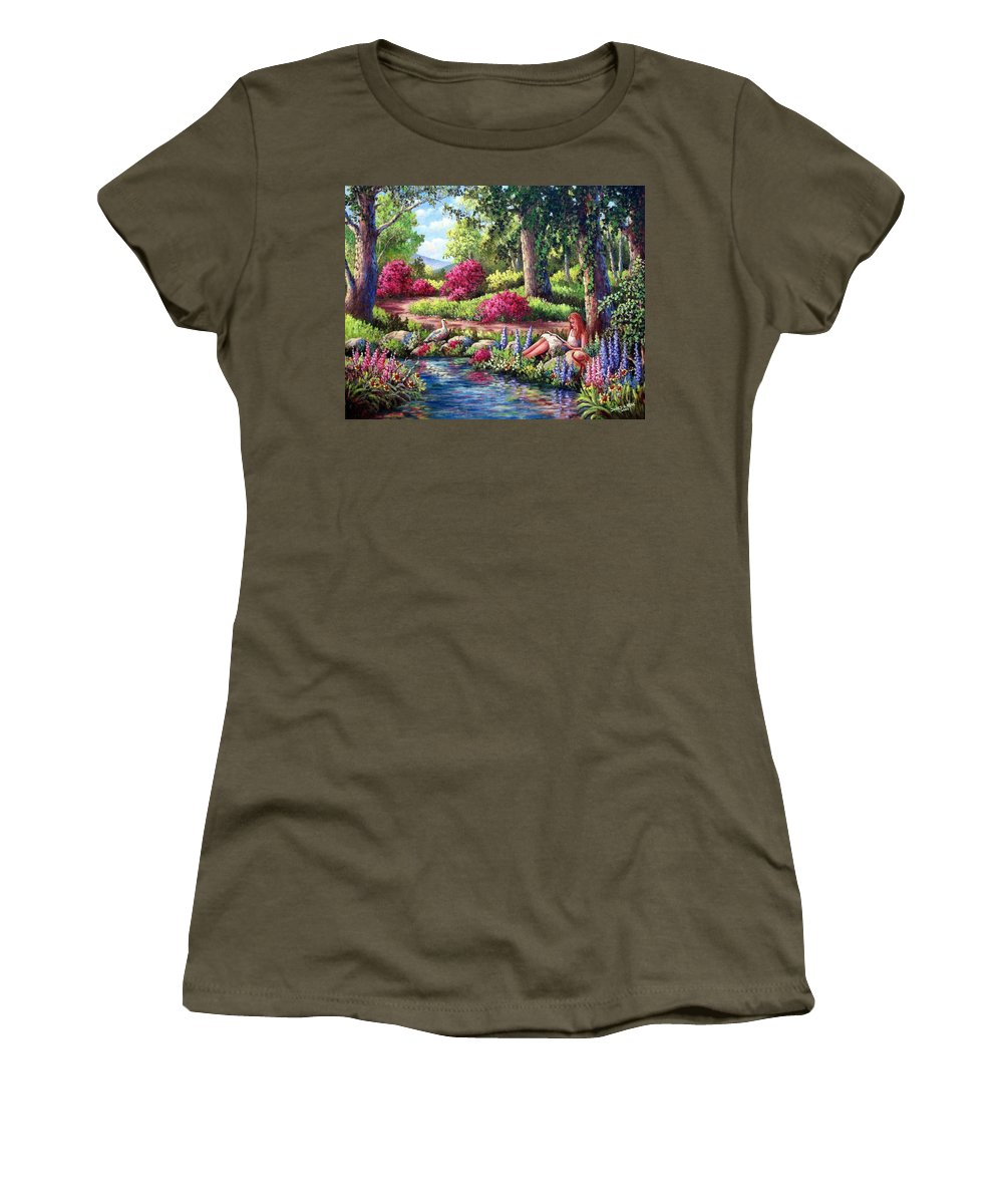 Read Women's T-Shirt (Athletic Fit) featuring the painting Her Reading Hideaway by David G Paul